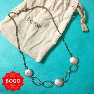 J.Crew Pearlescent Shell & Gold Hoop Necklace BOGO